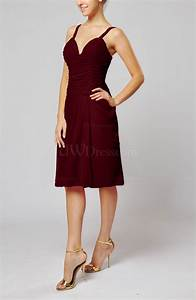 burgundy plain sleeveless backless chiffon ruching wedding With maroon wedding guest dress