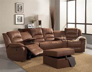 5 pc tucker collection brown bomber jacket microfiber With 5 seat reclining sectional sofa