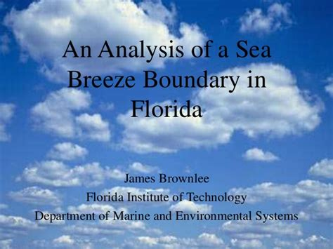 An Analysis Of A Sea Breeze Boundary In Florida