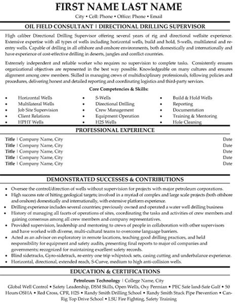Directional Drilling Engineer Resume directional drilling supervisor resume sle template