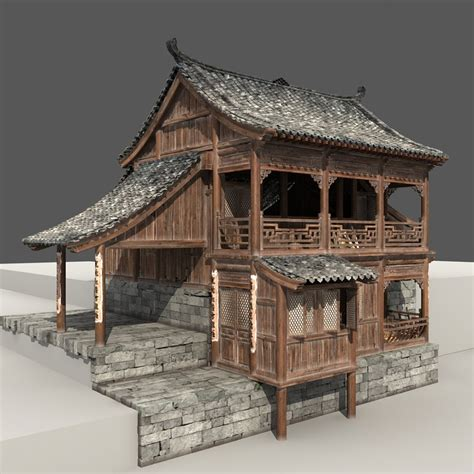 china house in wooden house 3d model cgstudio