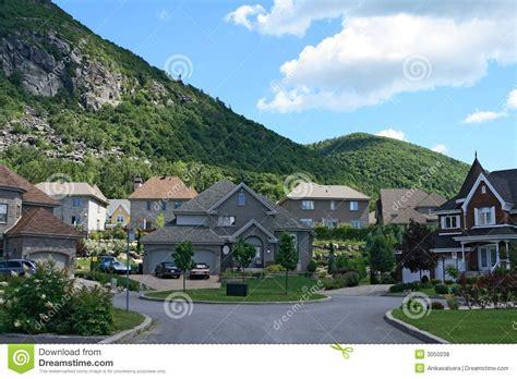 Expensive Houses Near Mountain Stock Photo  Image 3050038