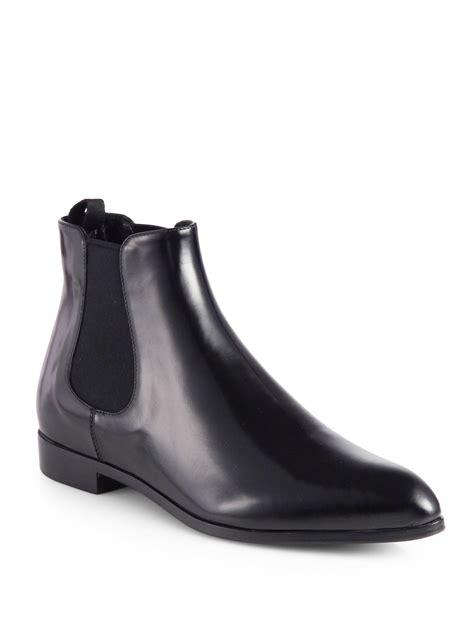prada polished leather chelsea boots  black  men nero black lyst