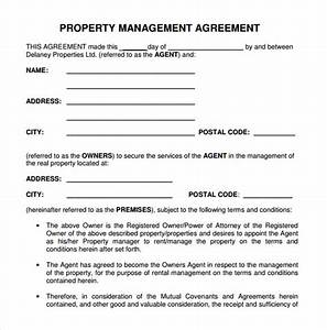 9 sample property management agreement templates to With property manager agreement template