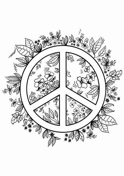Peace Coloring Pages Printable Adult Teens Sign