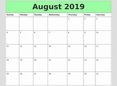 August 2019 Printable Calendar yearly printable calendar