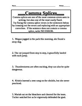Comma Splice Practice By Siebstuff  Teachers Pay Teachers