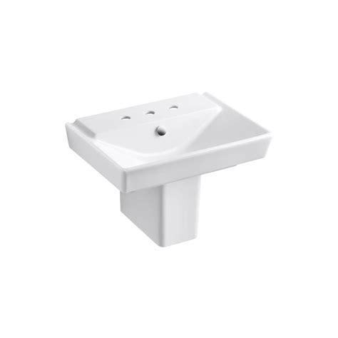 kohler reve semi ceramic pedestal combo bathroom sink in almond with overflow drain k 5150 8 47