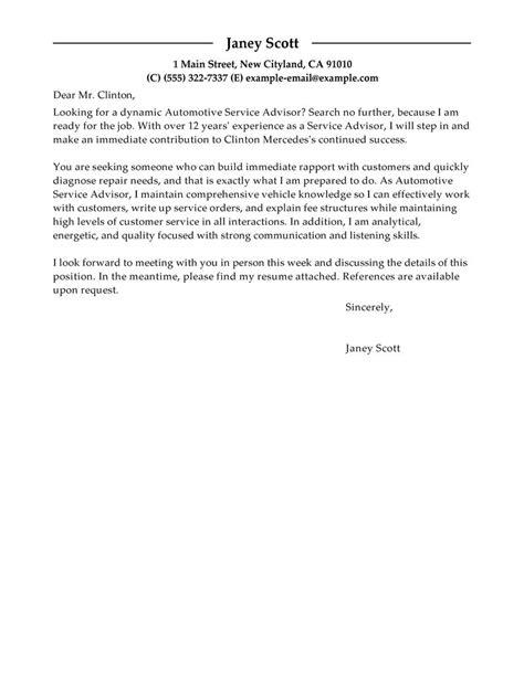 Automotive Service Advisor Resume Cover Letter by Customer Service Advisor Cover Letter Exles