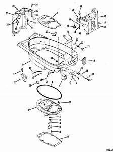 Mariner 40 Hp  2 Cylinder  Bottom Cowl  U0026 Exhaust Plate Parts