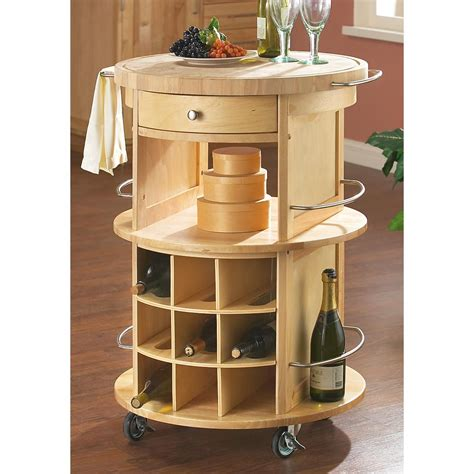 Round Butcher Block Cart  137230, Kitchen & Dining At