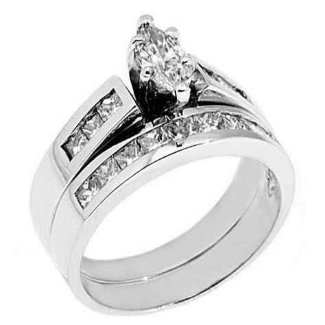 womens platinum marquise cut engagement ring wedding band bridal ebay