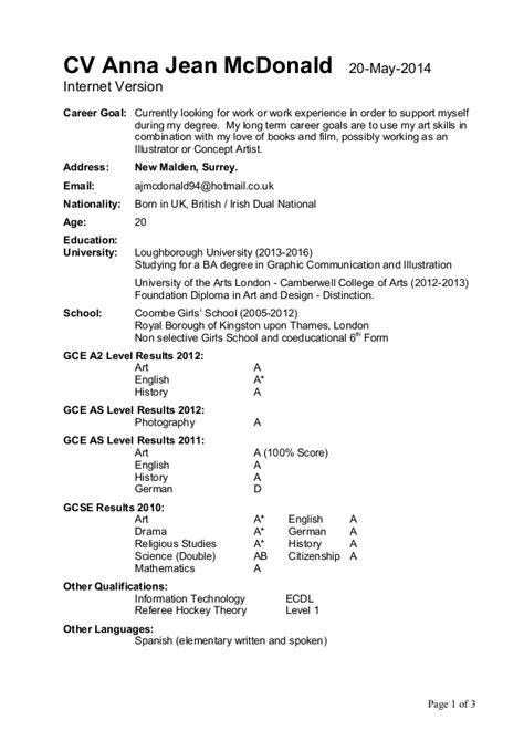 resume for mcdonalds cv jean mcdonald 20 may 2014