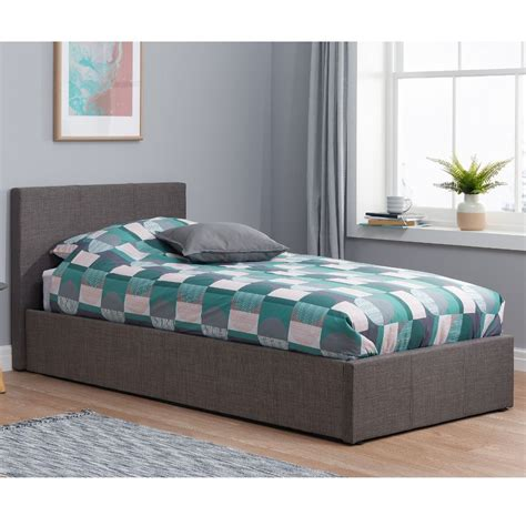 Grey Fabric Bed With Mattress by Berlin Grey Fabric Ottoman Storage Bed With 4 Mattress And