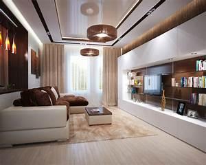 Brown cream living room l shaped sofa interior design ideas for Interior decorating l shaped living room