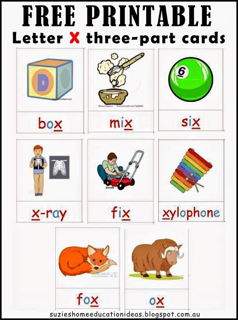 words starting with x for preschoolers s home education ideas letter x printable cards 837