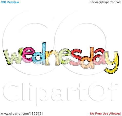 Clipart Of A Cartoon Stitched Wednesday Day Of The Week