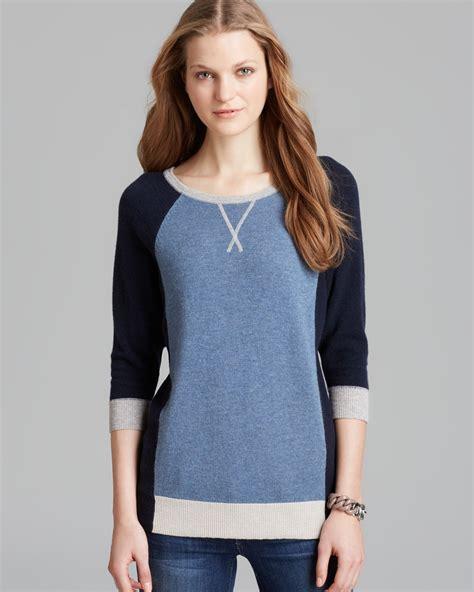 autumn cashmere sweater color block cashmere  blue lyst