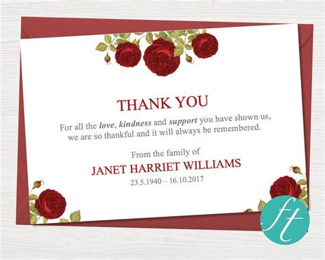 When planning a funeral, one of the most important things is to thank those to come to support the family, and the best and easiest way to do this is to send a thank you card or program along with the invitation to thank the guests at the same time. Funeral Thank You Card | Red Rose - Funeral Templates