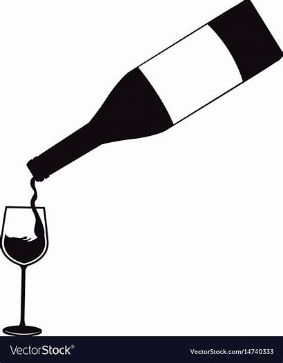 Pouring Wine Bottle Glass Vector Alcohol Royalty