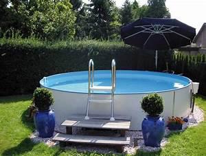 rund pool als stahlmantel schwimmbecken set mit technik With whirlpool garten mit bonsai schalen set