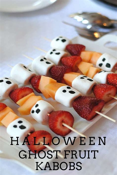 halloween kabobs ghost pumpkin candy fruit spooky treat simple chewy obsessions spice delicious healthy