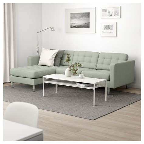 Sofa Mit Licht by Ikea Landskrona Sofa With Chaise Gunnared Light Green