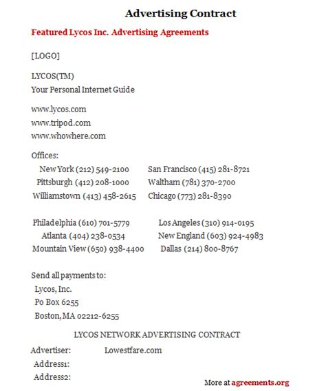 Advertising Contracts Templates by Advertising Contract Sle Advertising Contract Template