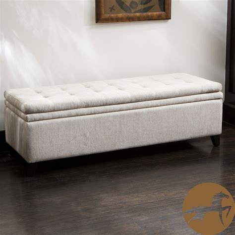 Bedroom Ottoman Bench by Christopher Home Brighton White Linen Storage