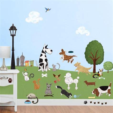wonderful walls cat  dog park peel  stick