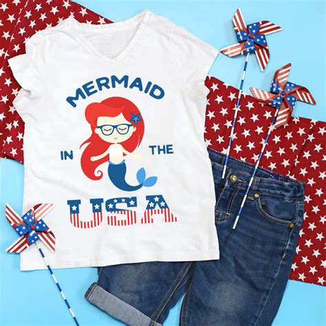 The flag clothing you're buying for july 4th is technically illegal. Mermaid DIY Patriotic Shirt (FREE SVG File ...