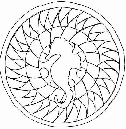 Mandala Mandalas Coloring Easy Horse Sea Animal