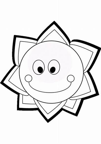 Coloring Sun Pages Summer Printable Smiling Clipart