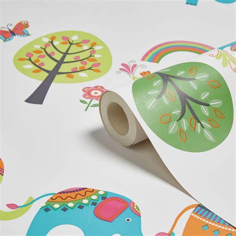 Animal Wallpaper B Q - green orange elephants trees children s