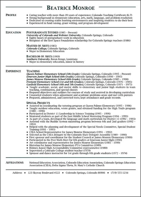 Exle Of Education Resume by Teaching Resume Exle Sle Resume
