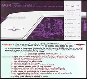 1964 Ford Thunderbird Wiring Diagram Manual Reprint