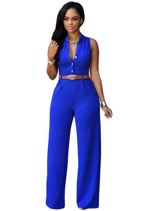 blue jumpsuit womens royal blue belted wide leg jumpsuit