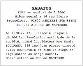 transfert si鑒e social sarl annonce légale dissolution eurl le légaliste