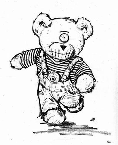 Teddy Bear Drawing Creepy Abnormal Cyrus Teddybear