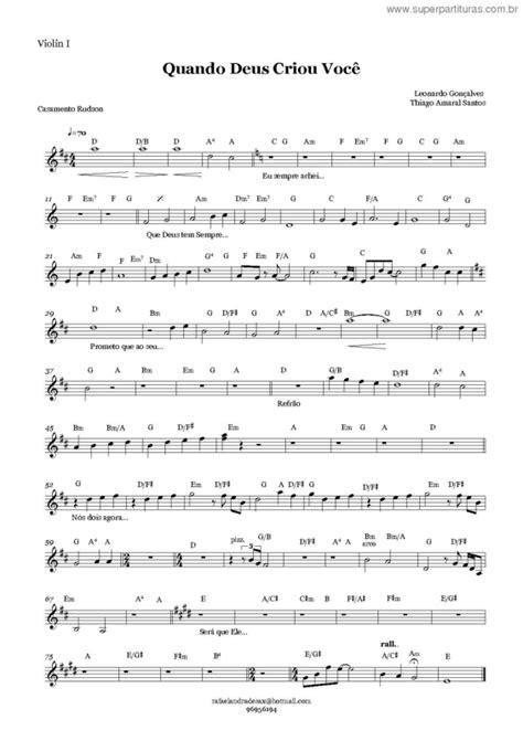 partituras quando deus criou voc 234 v 2 leonardo