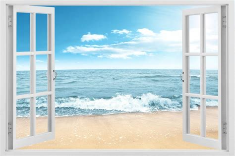 3d Window Ocean View Blue Sea Home Decor Wall Sticker: 3D Window Ocean Beach Wave Wall Art Sticker Mural Decal