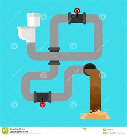 Wastewater Toilet Vector Illustrations Sewage Sewer System