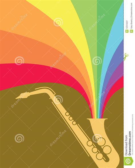 jazz sax blast rainbow stock illustration image