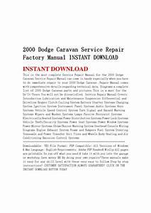 2000 Dodge Caravan Service Repair Factory Manual Instant