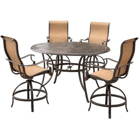 bar dining table set agio somerset 5 piece aluminum round outdoor bar height