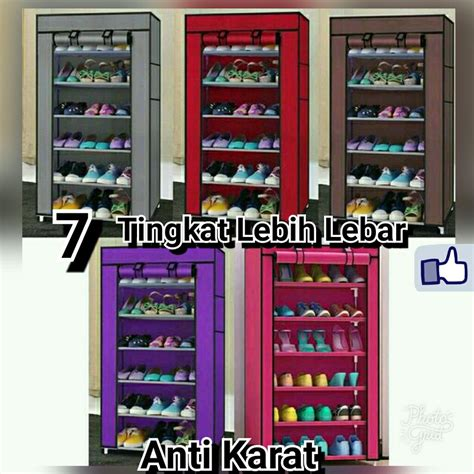 Jual Rak Sepatu Cover jual rak sepatu cover 7susun shoe rack with dust cover
