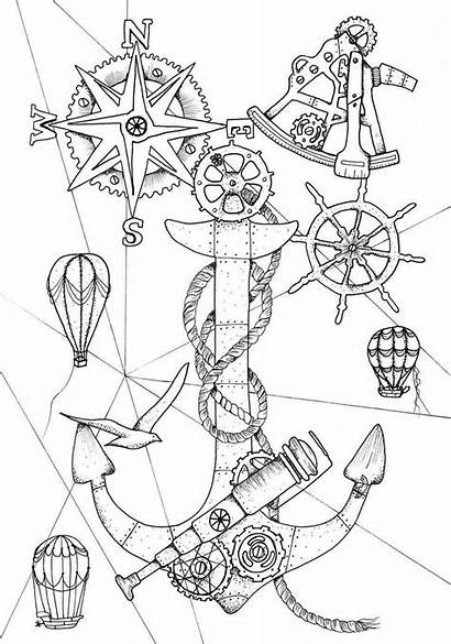 Steampunk Coloring Pages Anchor Ocean Printable