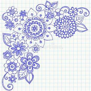 Sketchy Doodle Flower And Swirls abstract sketchy flower