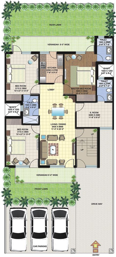 Small Bedroom Floor Plans by Duplex House Plans In 250 Sq Yards Home Deco Plans