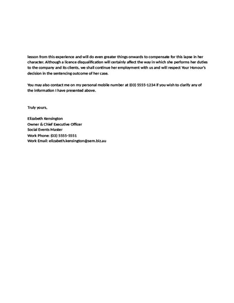 character reference letter for court template sle character reference letter for court by an employer free